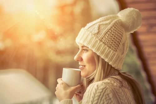 woman in winter sunlight