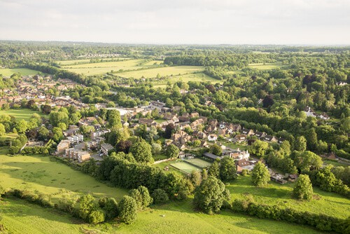 Aerial shot of Buckinghamshire from hot air balloon