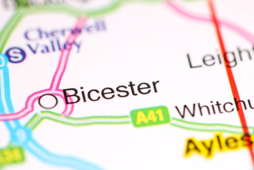 Map with BIcester Highlighted